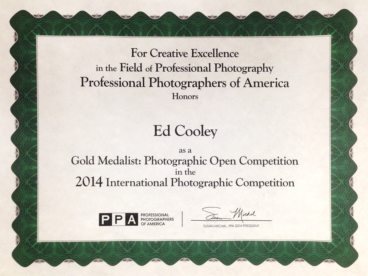 Professional Photographers of America Gold Medal Photographer
